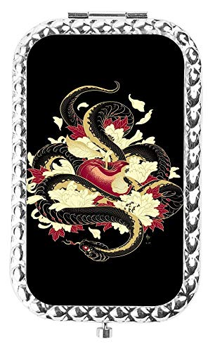 (Specialized Design Rectangle Slivery Snake Wrapped around Apple Portable makeup mirror, Travel Compact Portable Pocket Folding Makeup Vanity Cosmetic Mirror for Women)