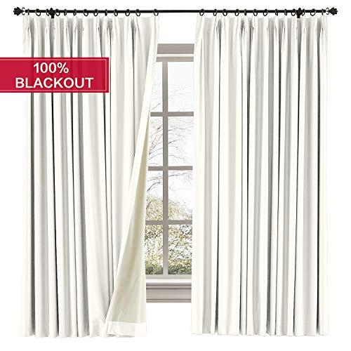 Prim Thermal Insulated Blackout Curtain Pinch Pleat Curtain Room Darkening Bedroom Drapes Window Treatment White Curtain Waterproof Window Treatment Drapes Panel, 52x63inches, 1 Panel