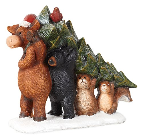 Country Moose Bear Beaver and Squirrel Carrying Tree Resin Stone (Bear Tree Decoration)