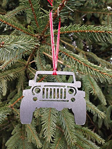 Jeep Christmas Ornament.Metal Jeep Christmas Ornament