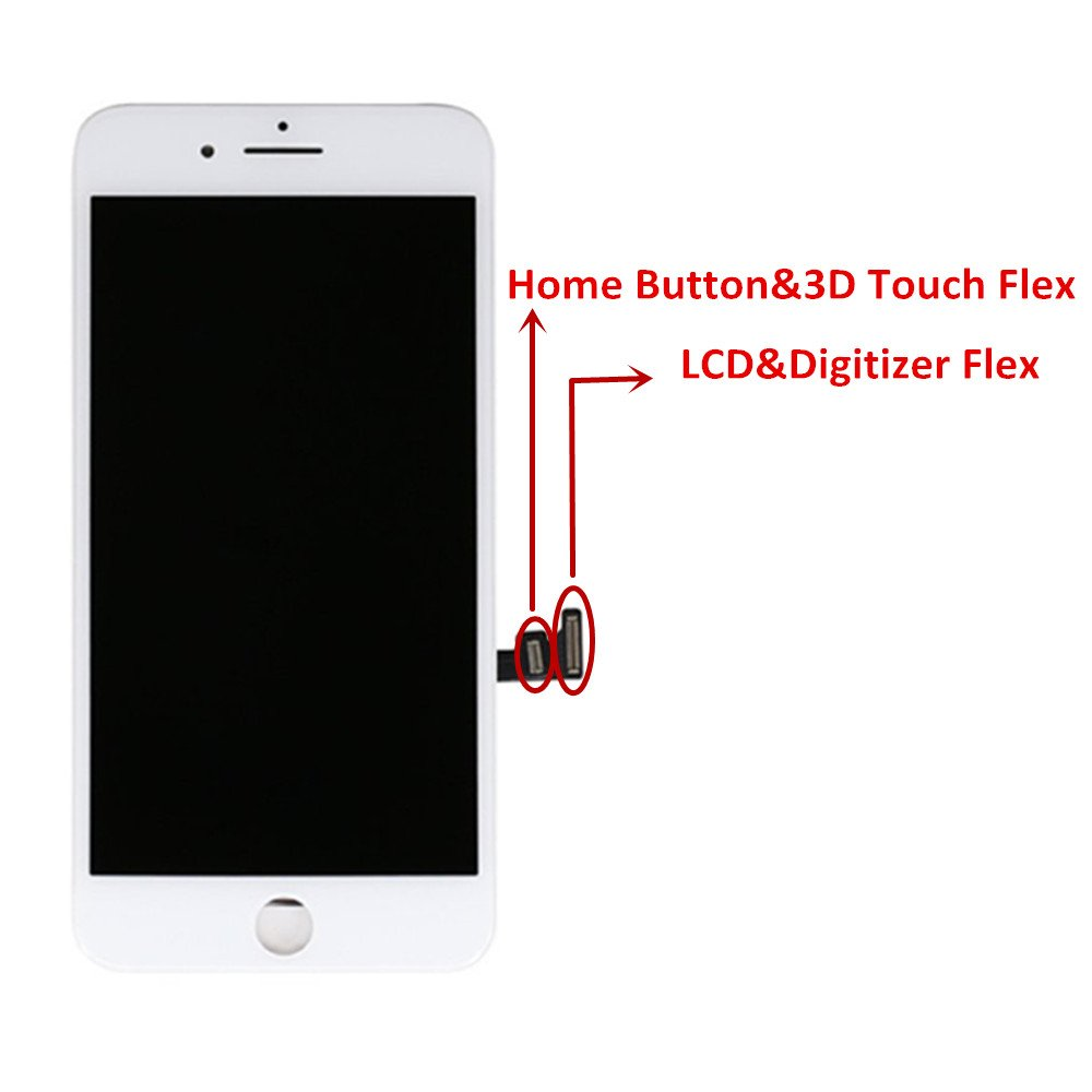 - 3D Touch LCD Complete Repair -LCD Touch Digitizer Display Glass Replacement With Waterproof Adhesive Premium Screen Replacement For iPhone 8 Plus 5.5 inch Tools,Instruction Tempered Glass White