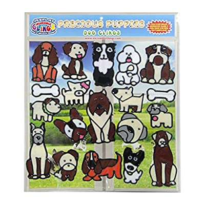 Dog and Puppies Flexible Gel Clings –Removable and Reusable Window Clings for Kids and Adults – Great Gel Decals for Home, Cars, Plane Travel and More