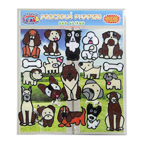 Dog and Puppies Flexible Gel Clings -Removable and Reusable Window Clings for Kids and Adults - Great Gel Decals for Home, Cars, Plane Travel and More