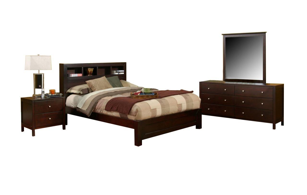 Alpine Solana Bedroom Set with Bed - Nightstand - Dresser and Mirror