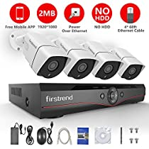 Firstrend 4CH POE Security Camera System with 4x 1080P HD Security Camera, Plug and Play Home Camera Security System with Free APP, Night Vision, NO HDD