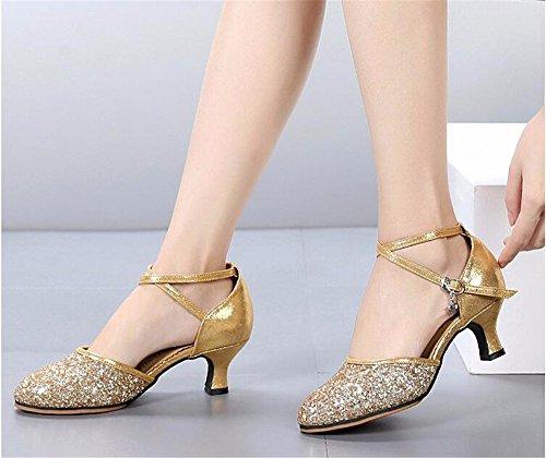 SQIAO-X- Scarpe da ballo in pelle sintetica e suola in gomma morbida a bassa amicizia Dance danza moderna ballo latino Professional scarpe da ballo, oro (3.5Cm colla ),36