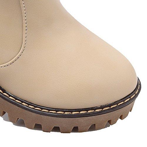 Albaricoque Baja AllhqFashion Material Mujeres Sin Botas cordones Suave Caña Alto Tacón Anq71WR