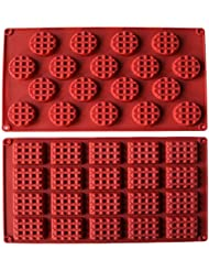 MANSHU 18-Cavity Silicone Mini Rectangle and Round Waffle Mould ,Waffle Cookie mold, Chocolate Mould,Candy Mould,Silicone Baking mold, 2pcs!