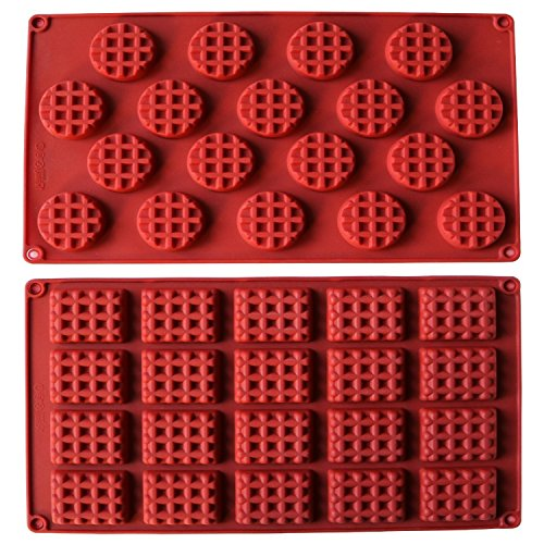 - MANSHU 18-Cavity Silicone Mini Rectangle and Round Waffle Mould ,Waffle Cookie mold, Chocolate Mould,Candy Mould,Silicone Baking mold, 2pcs!