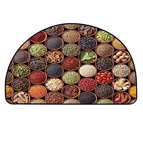 YOLIYANA Kitchen Entry Mat Rugs,Colorful Herbs and Spices Cardamom Pepper Chili Ginger Dill Natural Cuisine Print for Front Door,33.4