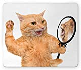 Lunarable Kitten Mouse Pad, A Cat Looking into The Mirror and Seeing a Reflection of a Lion Digital Image, Standard Size Rectangle Non-Slip Rubber Mousepad, White and Apricot