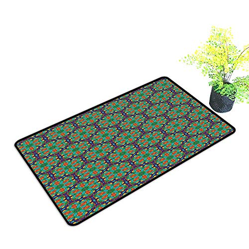 Diycon Fashion Door mat Turquoise Spider Web Inspired Floral Detailed Image on Blue Backdrop W31 xL47 Personality Fern Green Marigold and Navy Blue