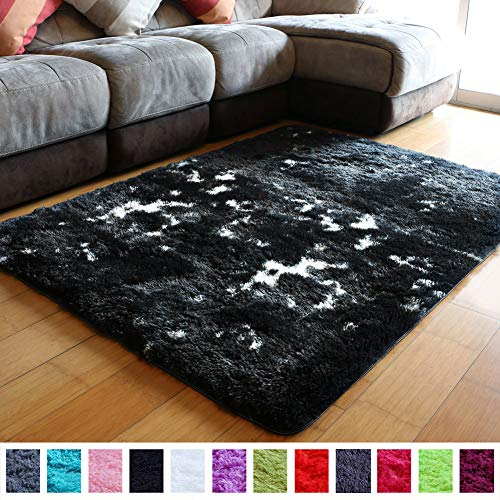 PAGISOFE Modern Abstract Shag Area Rugs for Living Room Bedroom 4x5.3 Feet Plush Fuzzy Patterned Rugs Colored Footcloth Carpet for Sitting Room Contemporary Accent Home Room Decor (Black and White)