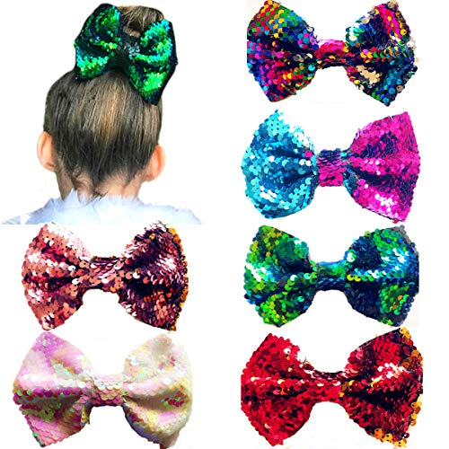 Ibeauti 6 Pcs Sparkling Reversible Sequins Large Hair Bows 5 inch with Alligator Clips for Girls Baby Toddler Little Girl (Reversible Sequins 5 - Reversible Kids Dress
