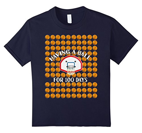 Kids 100 Days Of School Shirt for Kids- Having a Ball For 100 Day 8 Navy