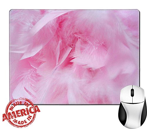 """Luxlady Natural Rubber Mouse Pad/Mat with Stitched Edges 9.8"""" x 7.9"""" feathers from a boa IMAGE ID 352090"""
