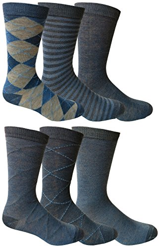 6 Pairs of Yacht&Smith Dress Socks, Colorful Patterned Assorted Styles (Pack (Impress Moisture Pack)