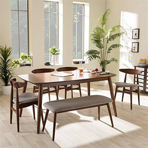 Flora 6 Piece Dining Set in Medium Brown Designer Dining Table Set