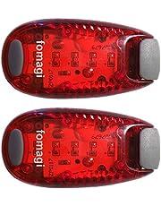fomagi 2X LED-Sicherheitslicht - Blinklicht oder Dauerlicht - mit Clip und Klettband (rot)