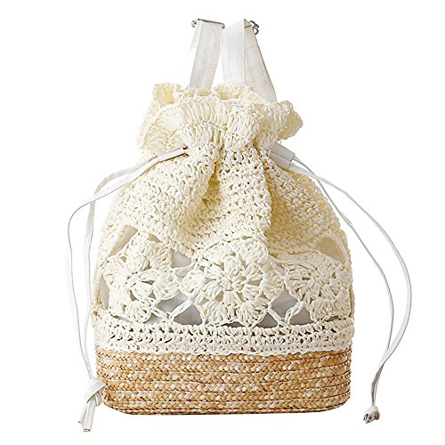 Purse Straw Bag Summer Beach Bag Shoulder White Womens
