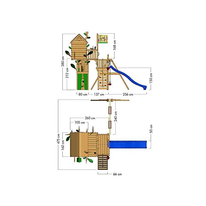 518tCtU1JIL WICKEY Casa del árbol casa de juegos incl. mesa y un banco, techo de madera, paredes de escalada y un montón de accesorios Viga de columpio de 9x9cm, postes verticales de 7x7cm - Calidad y seguridad aprobada - Made in Germany Madera maciza impregnada en clave, de fácil mantenimiento - Instrucciones de montaje sencillas y detalladas