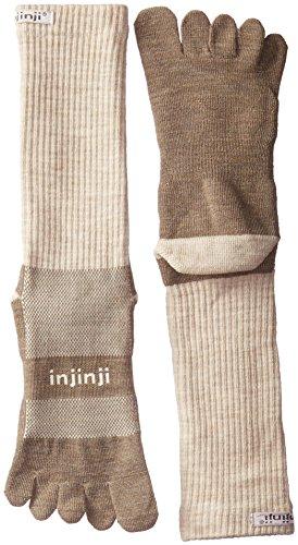Injinji Outdoor Midweight Crew Nuwool Socks, Oatmeal, Large ()