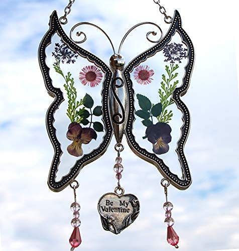 Valentine Suncatcher - New Butterfly Suncatchers Glass Be My Valentine Wind Chime with Pressed Flower Wings Embedded in Glass with Metal Trim Be My Valentine Heart Charm - Gifts for Valentine`s -Valentine for Birthdays