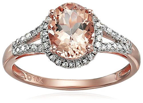 10k Rose Gold Morganite and Diamond Oval Halo Engagement Ring (1/5cttw, H-I Color, SI1-SI2 Clarity), Size 8