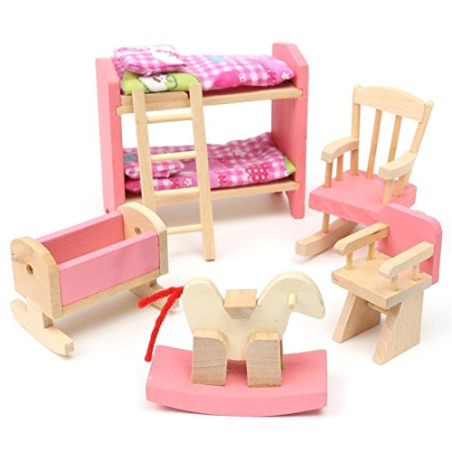 Kids House Play Wooden Children Doll Houses Toys(Baby Bedroom) Price give 2 dolls for free by Mama Store
