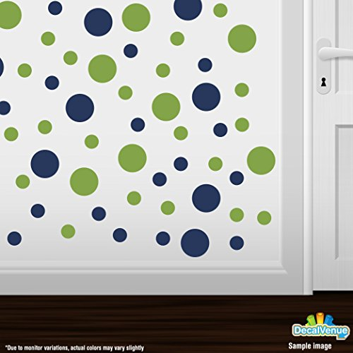 Set of 30 - Lime Green / Navy Blue Circles Polka Dots Vinyl Wall Graphic Decals Stickers (Seahawks Wall Decal)