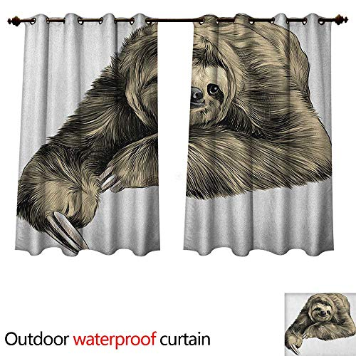 Sloth Outdoor Balcony Privacy Curtain Sweetly Smiling Jungle Animals Lying Down with Crossed Legs Tropic Fauna Sketch W55 x L45(140cm x 115cm)