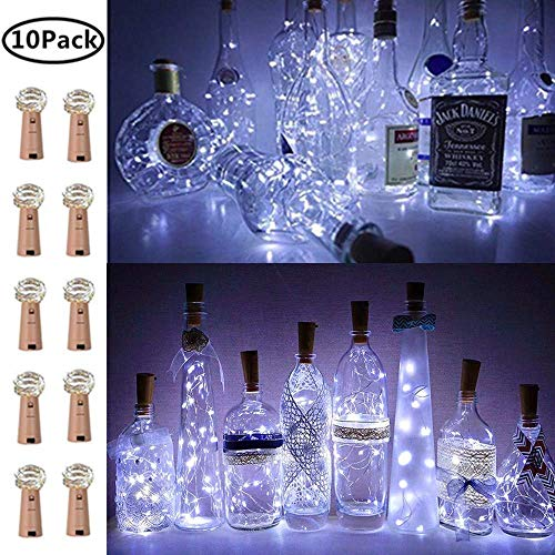 - Wine Bottle Lights with Cork, 10 Pack Fairy Lights Battery Operated LED Cork Shape Silver Wire Fairy Mini String Lights for Bedroom, DIY, Party, Wedding Gift Decor Indoor Outdoor(Cool White)