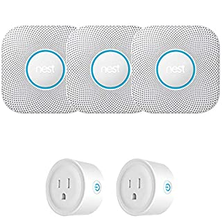 Nest S3006WBUS Protect Smoke and CO Alarm, Battery, 3-Pack Bundle with Deco Gear WiFi Smart Plug 2-Pack