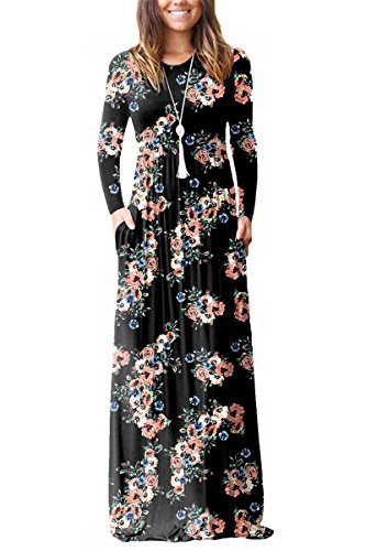 ESONLAR Womens Daisy Printed Graduation Full Length Dress Round Neck Party Long Sleeve Solid Ladies Maxi Long Dresses for Work Black X-Large (Daisy Printed)