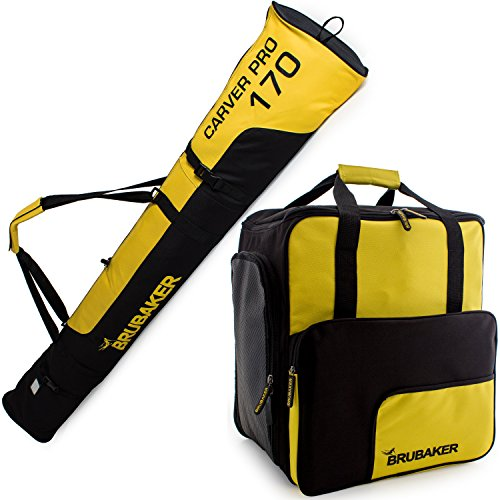 Poles Boots Skis (BRUBAKER Superfunction - Limited Edition - Combo Ski Boot Bag and Ski Bag for 1 Pair of Ski, Poles, Boots and Helmet - Yellow Black)