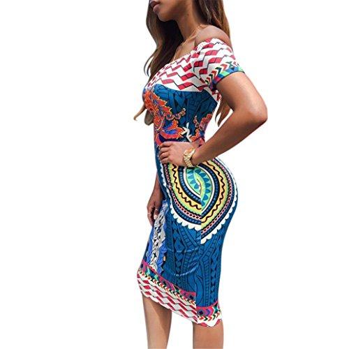 Sexy Casual Traditionnelle Moulante À 16 Dashiki Courtes Femme Africaine Bleu Imprimer Cocktail Robe Manches 4jRqA35L