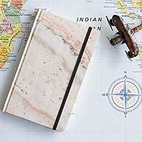 Cuaderno mediano mármol rosa interior puntos pasta dura