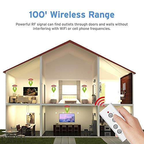 Etekcity Remote Control Outlet Wireless Light Switch for Household Appliances, Plug and Go, Up to 100 ft. Range, FCC ETL Listed, White (Learning code, 3Rx-1Tx) by Etekcity (Image #4)