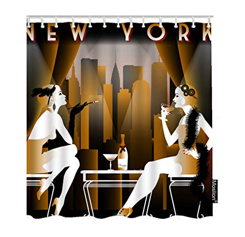 Moslion Woman Bathroom Curtains Sexy Girls at Party with Skyscrapers of New York City Shower Curtain Set Home Decorative Waterproof Polyester Fabric with Hooks 72x84 Inch Brown