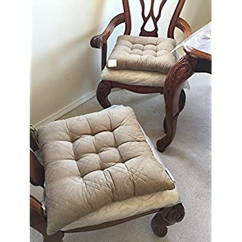 Large Size Set Of 4 Soft Micro Suede Dining Office Chair Cushion Pads 17x17 Peat Taupe