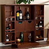 Fold-Away Home Bar Cabinet Espresso Walnut Hardwood Wine Liquor Storage Drawer