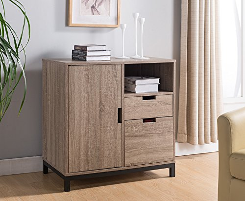 Smart Home Dark Taupe & Black Attwell File Cabinet Storage Unit