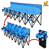 6 person chair - Strong Camel Folding Chair Sports 6 Seater Sideline Portable Bench w Cup Holder and Carry Bag (Blue)