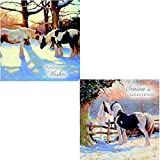 Horses 'Christmas Greeting' Luxury Twin Christmas 10 Card Pack