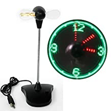 New Patented Manufacture Portable Flexible USB Clock Fan Display Real-time Led Light Flashing Cooling USB Powered Electric Fan for Desk,Laptop,Computer Fan