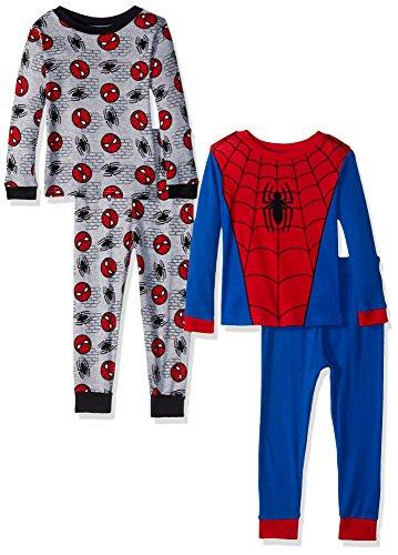 Marvel  Boys' Toddler Spiderman 4-Piece Cotton Pajama Set, Spidey Uniform, 2T