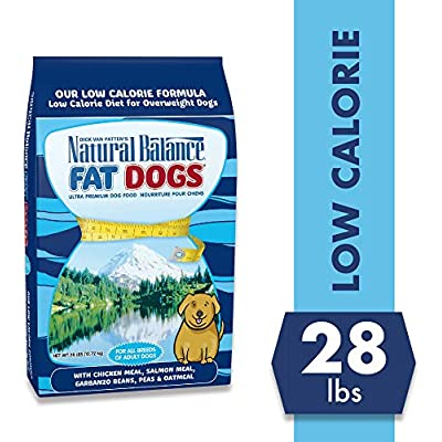 Natural Balance Fat Dogs Low Calorie Dry Dog Food, Chicken Meal, Salmon Meal, Garbanzo Beans, Peas & Oatmeal, for Overweight Dogs