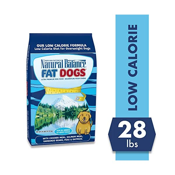 Natual Balance Fat Dogs Low Calorie Adult Dog Food with Chicken Meal, Salmon Meal, Garbonzo Bean, Peas & Oat Groats, 28 Pounds