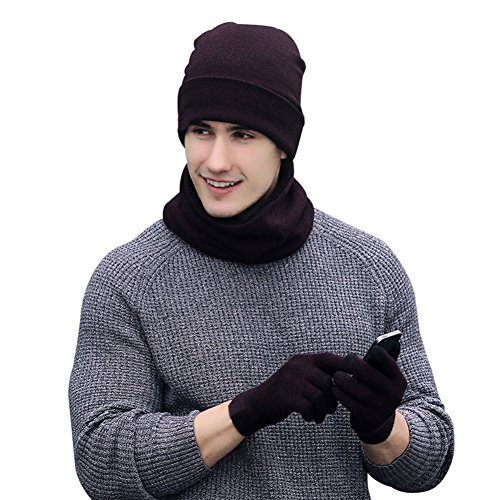 Vbiger Winter Warm Knit Hat + Scarf + Touch Screen Gloves ,Unisex 3 Pieces Knitted Set for Men Women (Dark Red)