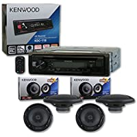 Kenwood Single DIN 1DIN Car AM/FM MP3 CD Stereo + 4 x 6.5 2-way Car audio coaxial Speakers 300 watts